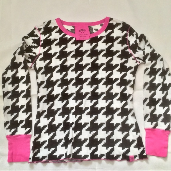 Victoria's Secret cotton thermal houndstooth top